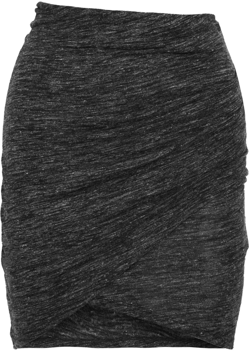 Iro Woman Plume Ruched Mélange Stretch-jersey Mini Skirt Anthracite