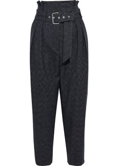 Iro Woman Pluton Cropped Belted Wool Tapered Pants Dark Gray