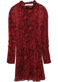 Iro Woman Prime Ruffled Printed Georgette Mini Dress Crimson