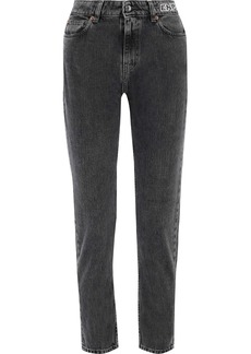 Iro Woman Progress Cropped Printed High-rise Slim-leg Jeans Black