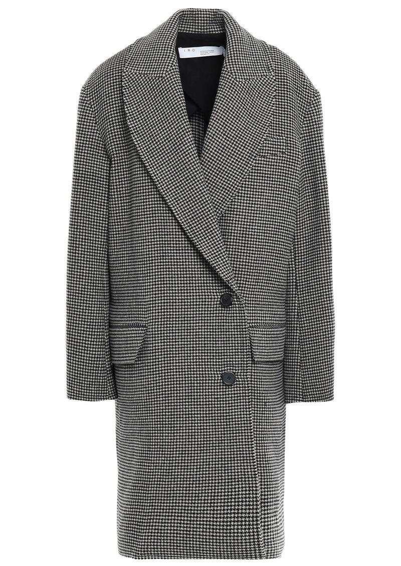 Iro Woman Quip Houndstooth Wool-felt Coat Dark Gray