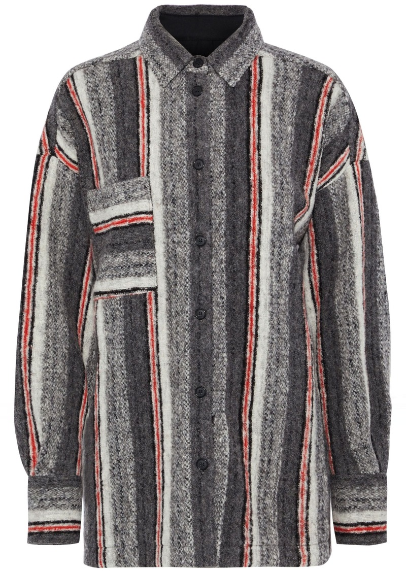 Iro Woman Ramset Striped Brushed Wool-blend Shirt Gray