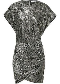 Iro Woman Rassa Metallic Silk-blend Zebra-jacquard Mini Dress Platinum
