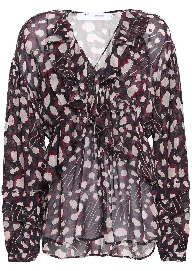 Iro Woman Realize Ruffled Leopard-print Chiffon Blouse Black