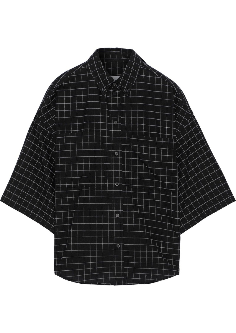 Iro Woman Regatta Oversized Checked Cotton Shirt Black