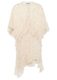 Iro Woman Revolve Ruffled Fil Coupé Silk-blend Chiffon Mini Dress Ecru