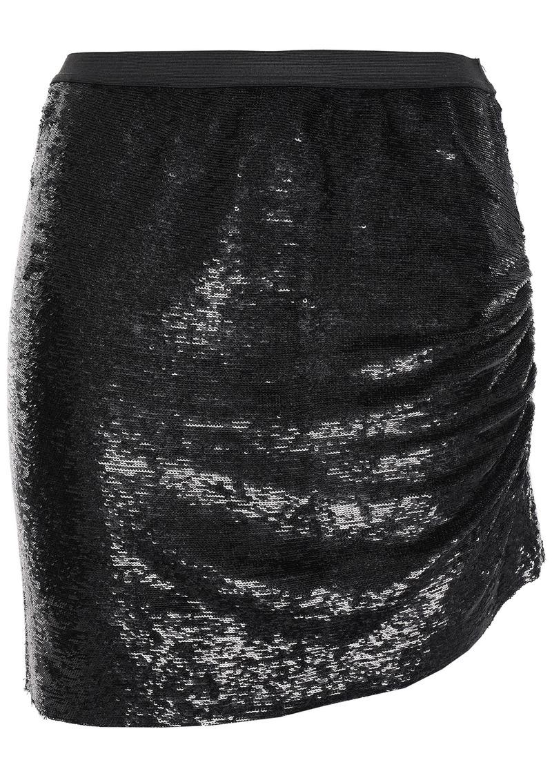 Iro Woman Reward Asymmetric Ruched Sequined Stretch-woven Mini Skirt Black