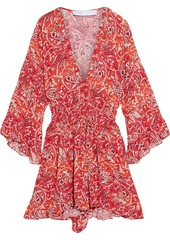 Iro Woman Rhodey Frayed Ruffle-trimmed Printed Crepe Playsuit Red