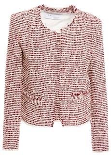 Iro Woman Riona Frayed Bouclé-tweed Jacket Claret