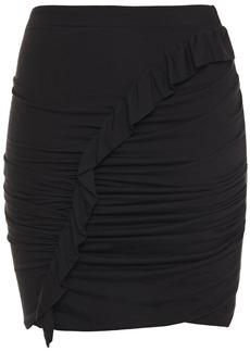 Iro Woman Oda Ruffle-trimmed Ruched Jersey Mini Skirt Black