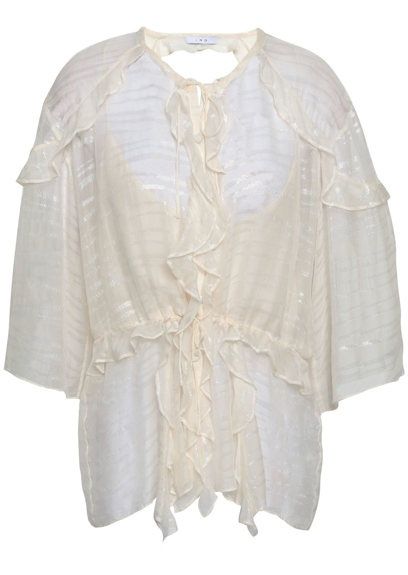 Iro Woman Open-back Metallic Fil Coupé Chiffon Blouse Ivory