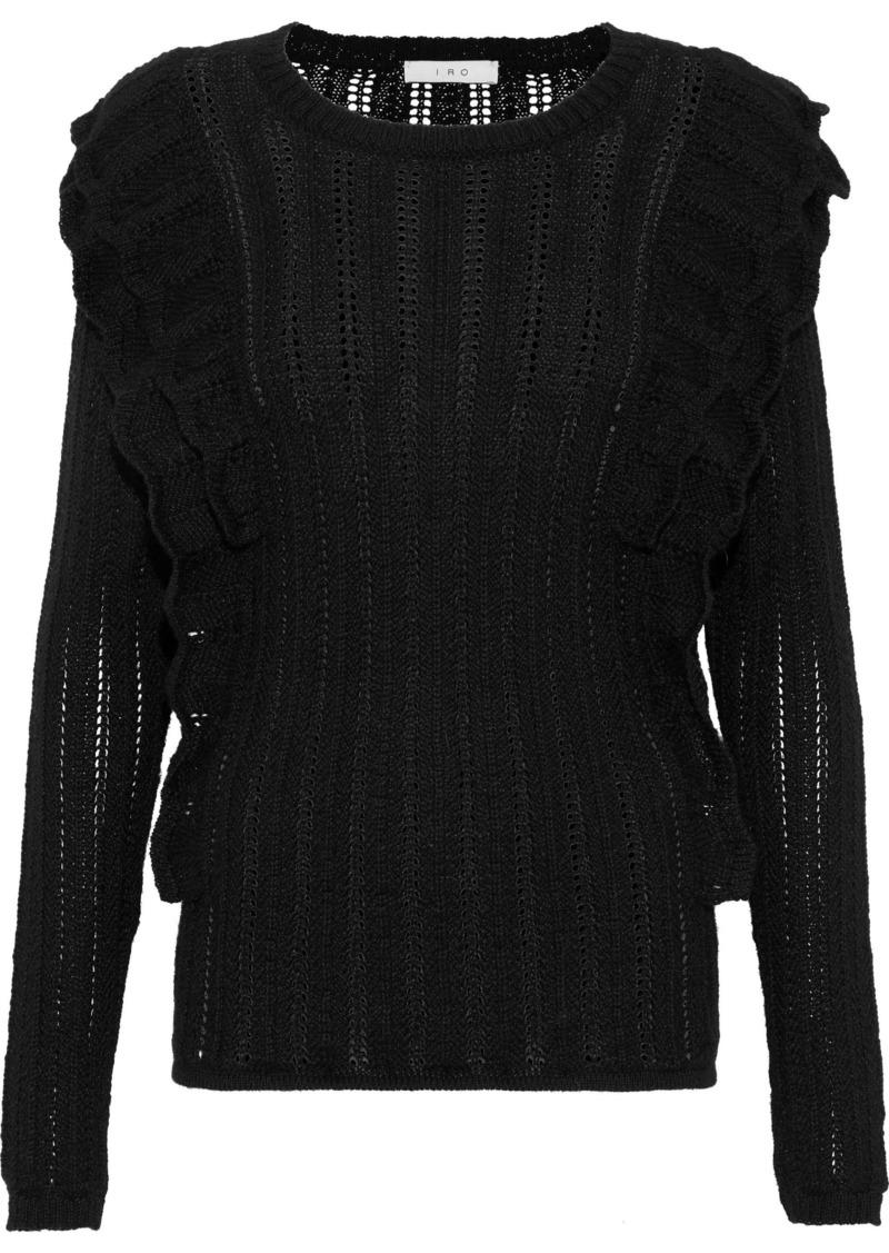 Iro Woman Ruffle-trimmed Open-knit Alpaca-blend Sweater Black