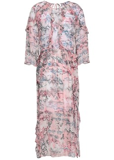 Iro Woman Ruffle-trimmed Printed Georgette Midi Dress Pastel Pink