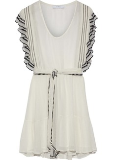 Iro Woman Ottie Ruffle-trimmed Embroidered Georgette Mini Dress Ivory