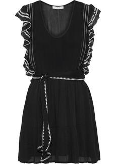 Iro Woman Ottie Ruffle-trimmed Embroidered Georgette Mini Dress Black