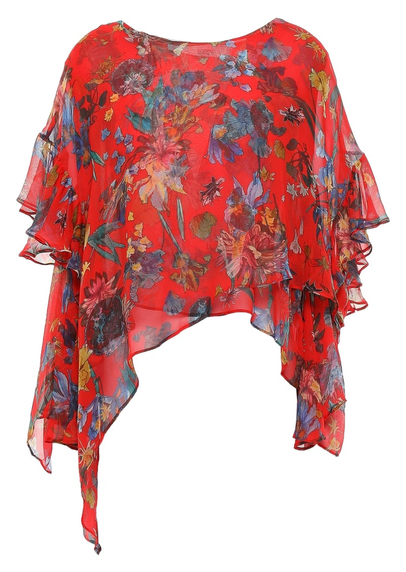 Iro Woman Yellow Asymmetric Ruffled Floral-print Silk-georgette Blouse Red