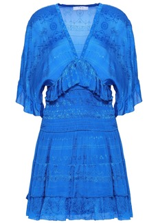 Iro Woman Stacy Shirred Embroidered Georgette Mini Dress Bright Blue