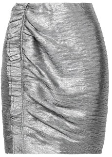Iro Woman Ruffled Lamé Mini Skirt Silver