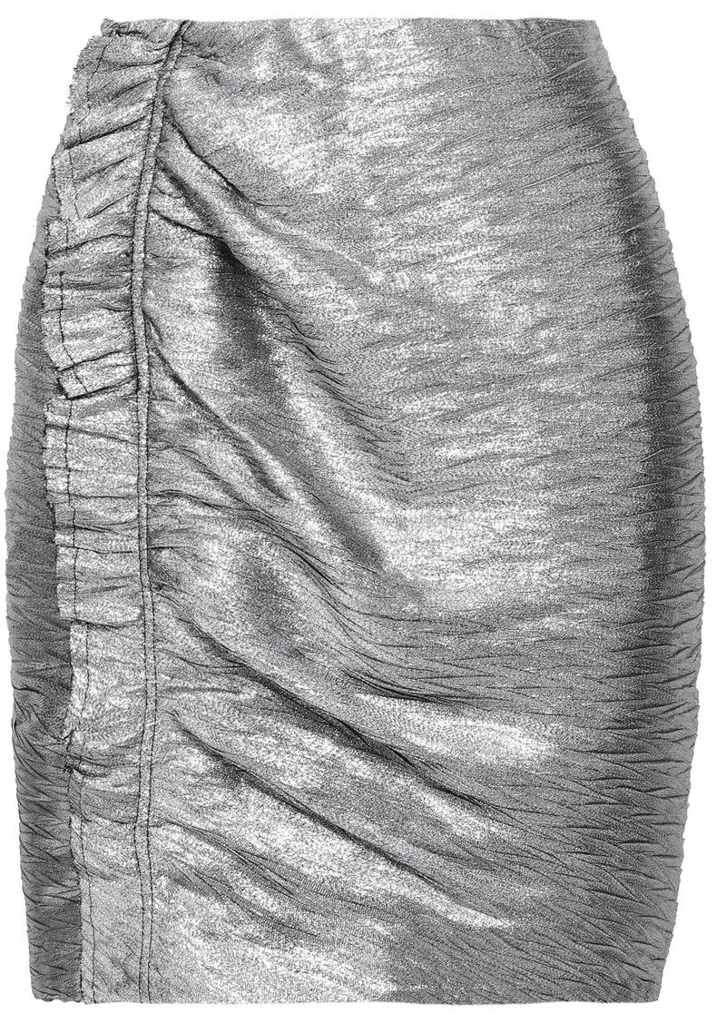 Iro Woman Ruffled Lamé Mini Skirt Silver