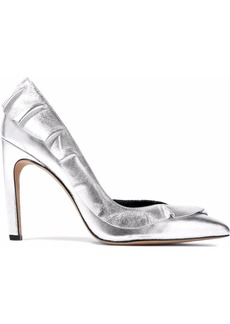 Iro Woman Ruffle-trimmed Leather Pumps Silver