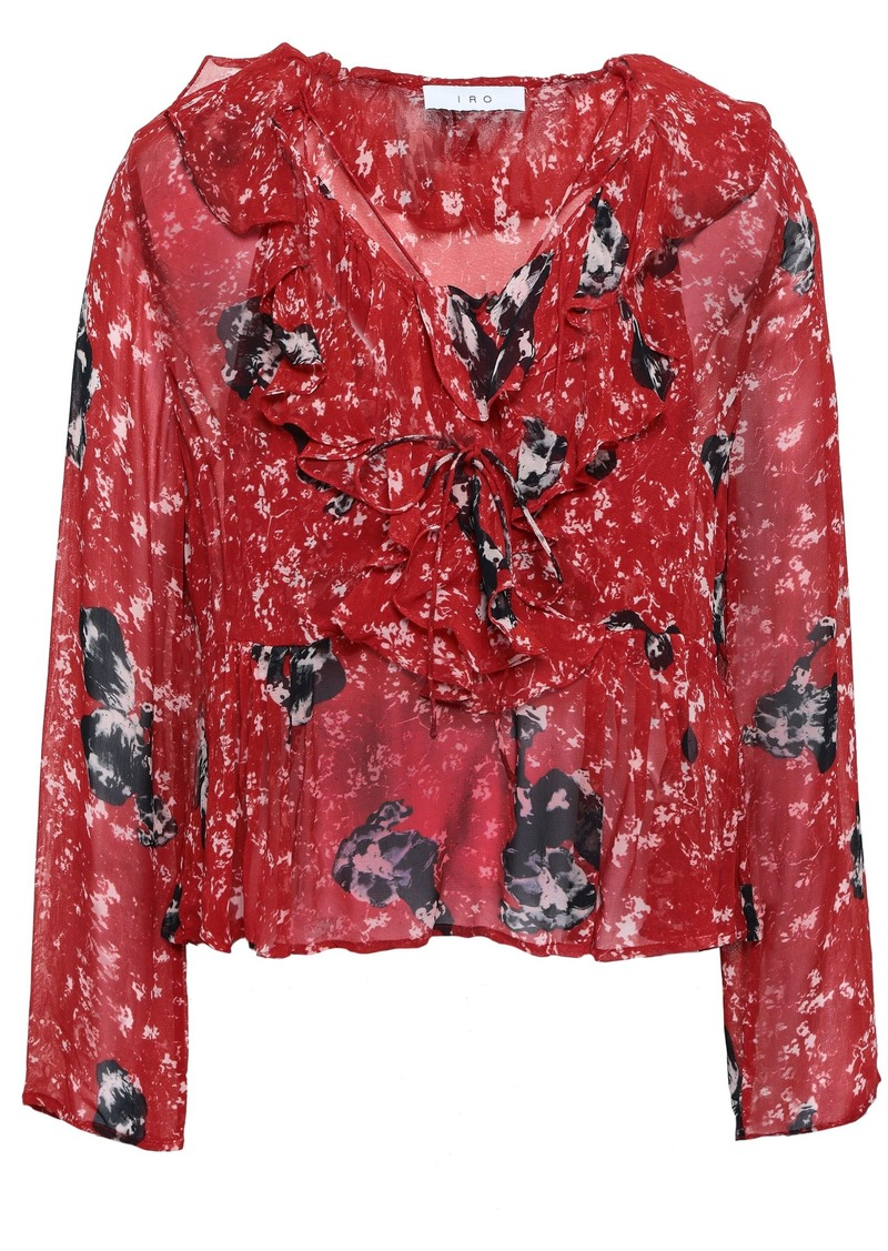 Iro Woman Ruffled Printed Georgette Blouse Claret