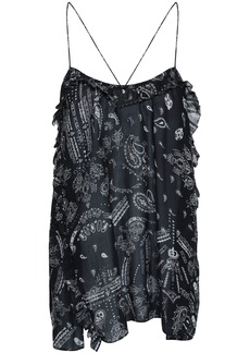 Iro Woman Ruffled Printed Georgette Camisole Black