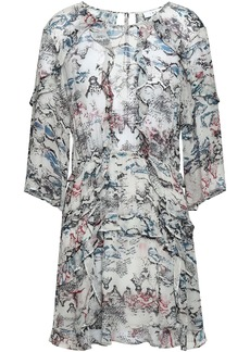 Iro Woman Ruffled Printed Georgette Mini Dress Light Gray