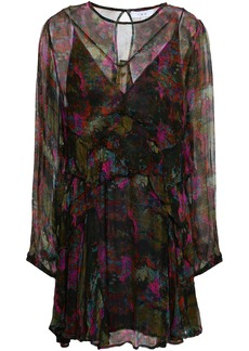 Iro Woman Jeska Ruffled Printed Georgette Mini Dress Fuchsia