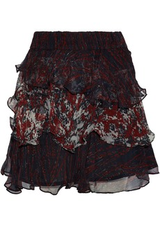 Iro Woman Ruffled Printed Georgette Mini Skirt Black