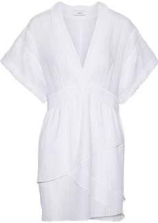 Iro Woman Rumya Layered Metallic Pinstriped Cotton-blend Mini Dress White