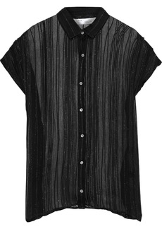 Iro Woman Metallic Striped Georgette Blouse Black