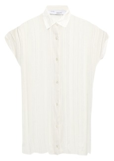 Iro Woman Metallic Striped Georgette Blouse Off-white