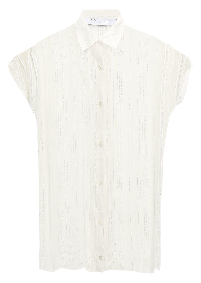 Iro Woman Ruts Metallic Striped Georgette Shirt Off-white