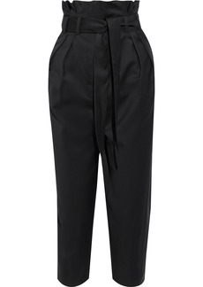 Iro Woman Ryiti Cropped Belted Pleated Wool-twill Tapered Pants Black