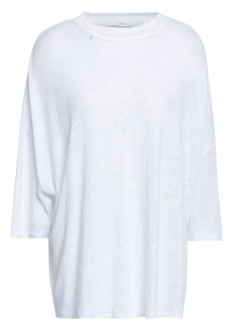 Iro Woman Sacaya Distressed Slub Linen-jersey Top White