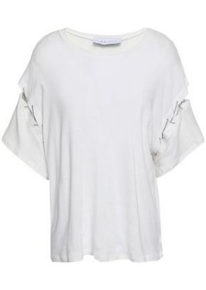 Iro Woman Saly Chain-trimmed Cotton-jersey T-shirt Ivory