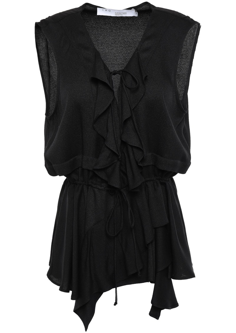 Iro Woman Santi Ruffled Crepe De Chine Peplum Top Black