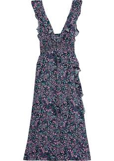 Iro Woman Santu Ruffled Shirred Crepe De Chine Maxi Dress Black