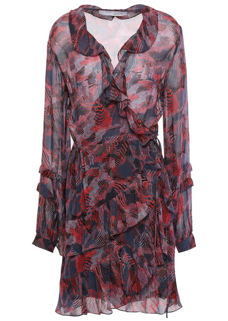 Iro Woman Seduce Ruffled Printed Georgette Mini Wrap Dress Teal