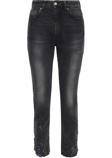 Iro Woman Serma Cropped Distressed Painted High-rise Skinny Jeans Charcoal