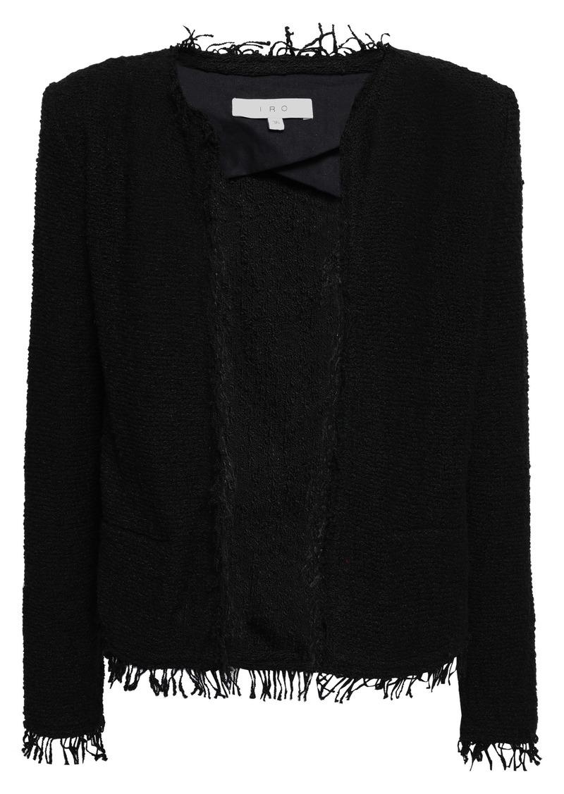 Iro Woman Shavani Frayed Cotton-blend Bouclé-tweed Jacket Black