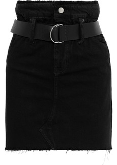 Iro Woman Shearling-paneled Distressed Denim Mini Skirt Black