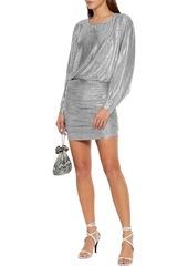 Iro Woman Silar Ruched Metallic Jersey Mini Dress Silver