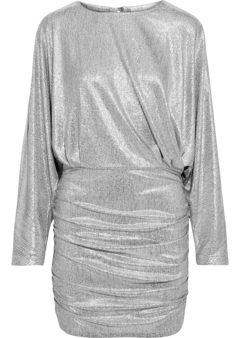 Iro Woman Silar Ruched Metallic Jersey Mini Dress Silver