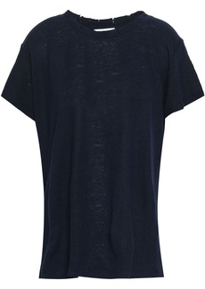 Iro Woman Distressed Slub Linen-jersey T-shirt Midnight Blue