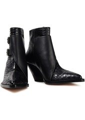 Iro Woman Smooth And Snake-effect Leather Ankle Boots Black