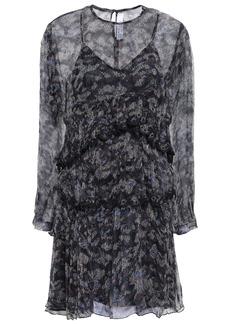 Iro Woman Society Tiered Printed Georgette Mini Dress Midnight Blue