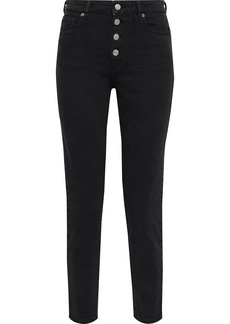 Iro Woman Sorbon Cropped Distressed High-rise Skinny Jeans Black