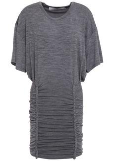 Iro Woman Speedy Braid-trimmed Ruched Jersey Mini Dress Gray