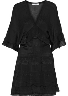 Iro Woman Stacy Shirred Embroidered Georgette Mini Dress Black